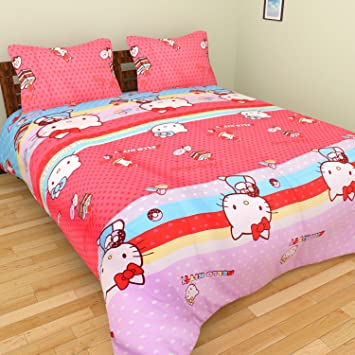 127a0545b738 Buy Tanvi Arts Cotton 3D Hello Kitty Cartoon Printed Double Bedsheet with 2 Pillow  Covers(Pink