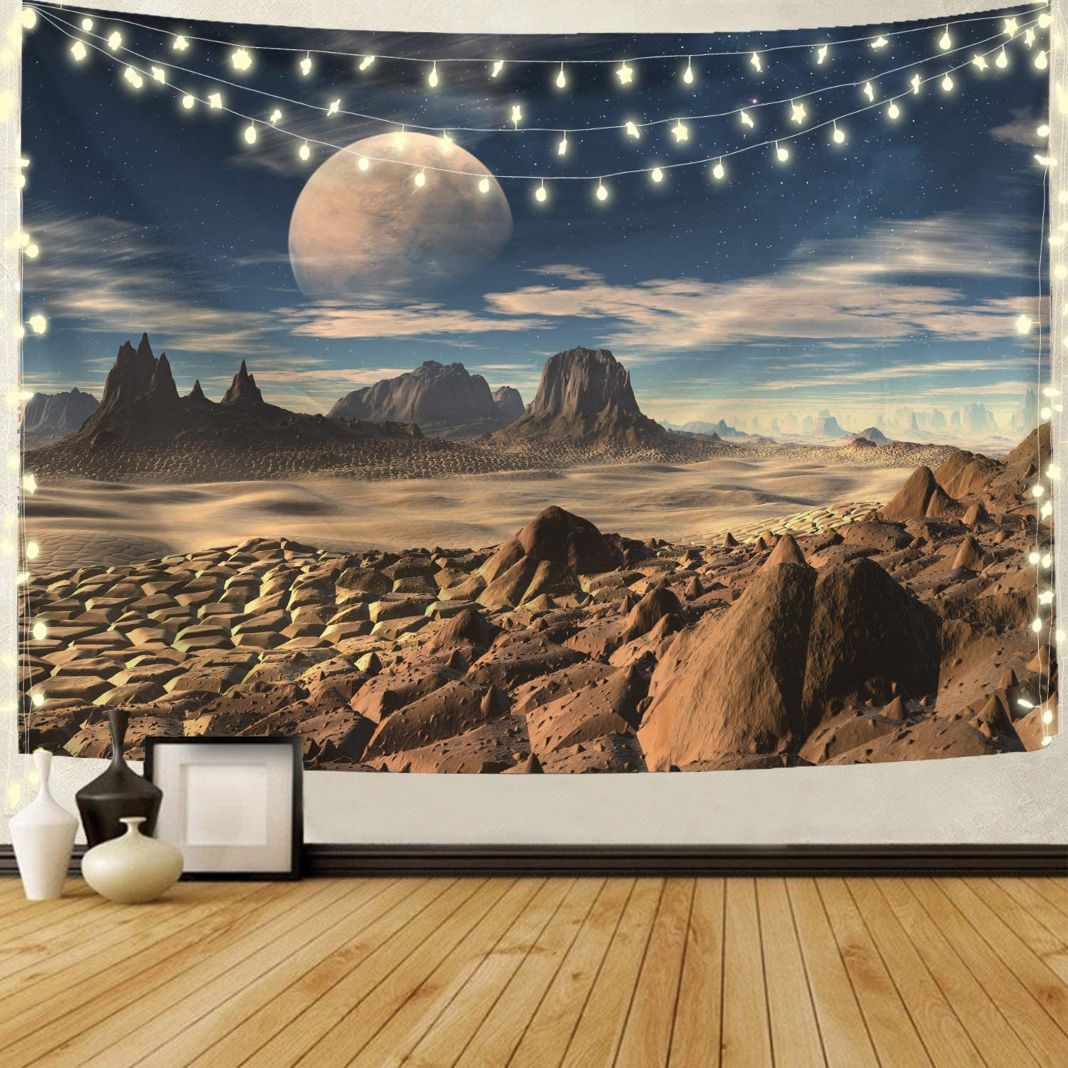 Barixus Hippie Tapestry Wall Hangings Mountain Tapestry Moon Tapestry Nature Landscape Tapestry for Bedroom Living Room Decor Sofa Cover(51.2 x 59.1 inches)