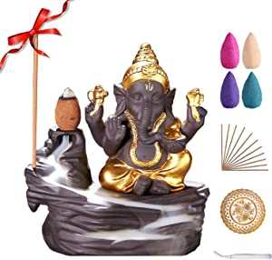 Elephant Backflow Incense Burner Handmade Ceramic Incense Holder for Home Decor Gift Decorations Statue Ornaments with 80 Backflow Incense Cones, 50 Incense Sticks, Incense Burner Pad, and Tweezers
