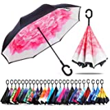 Chiasa 逆さ傘 長傘 さかさま傘 逆折り式傘 逆転傘 UVカット 晴雨兼用 手離れC型手元 耐風傘 撥水加工 ビジネス用車用 自立傘 二重傘 (Pink)