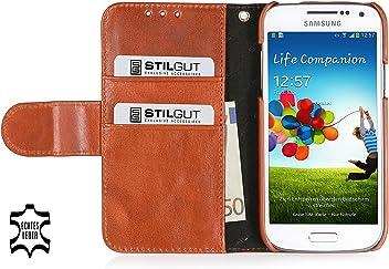 StilGut Talis Book Type custodia in vera pelle per Samsung Galaxy S4 Mini (i9195) con scomparti per carte di credito, biglietti da visita e banconote, cognac