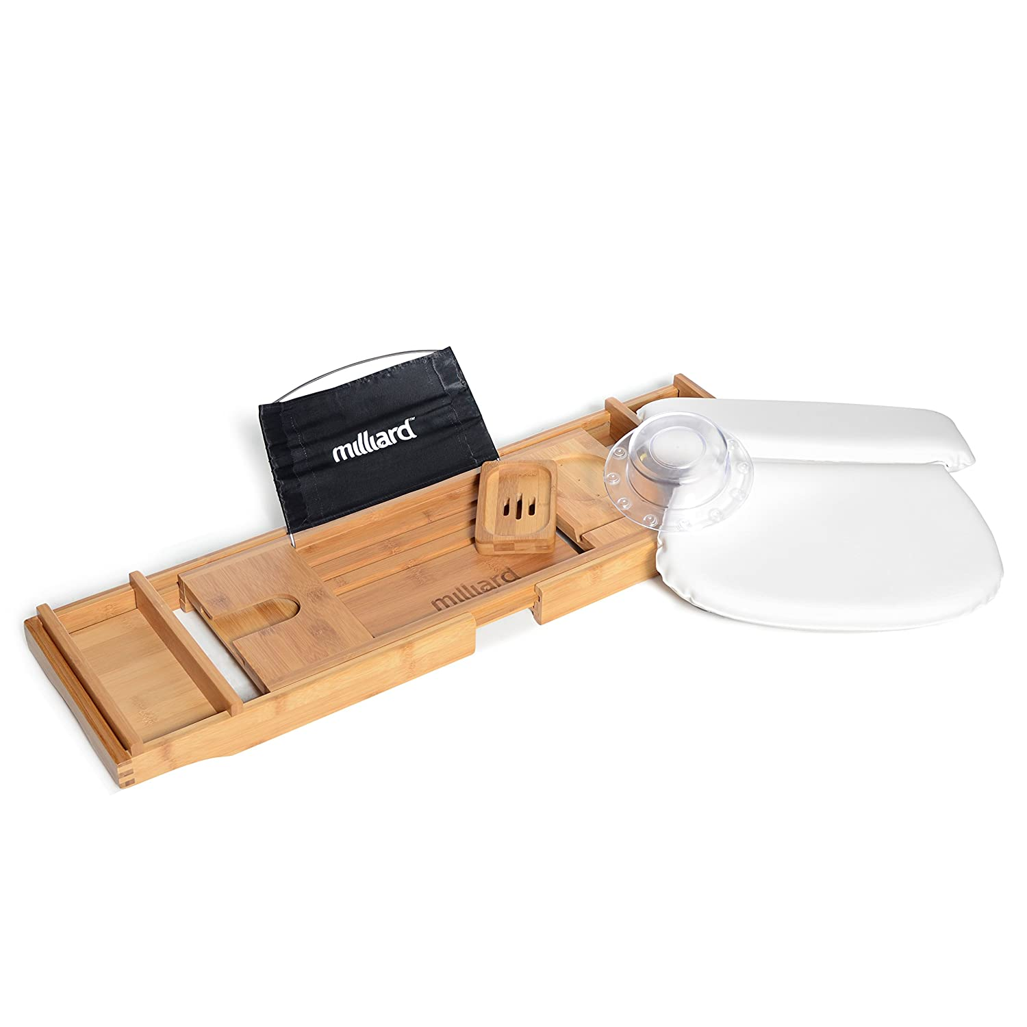 Milliard Ultimate Bath Spa Kit, Includes Bamboo Bath Caddy Tray, Suction Bath Pillow & Overflow Bathtub Drain Cover Set