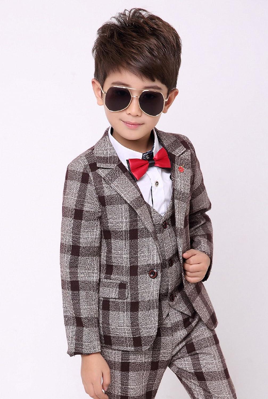 ad502580c Amazon.com: Boy's Check Tuxedo Suit Set 3 Pcs Morden Fit Dress Suit Set  Formal Jacket Vest Pants 2T-12Y: Clothing