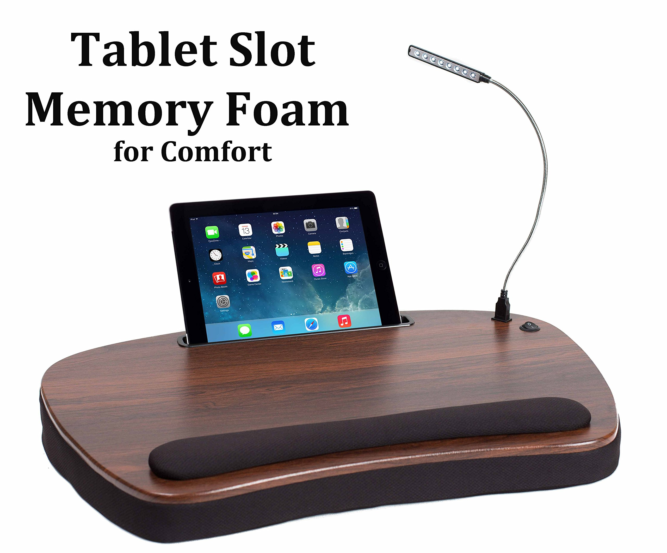 Sofia Sam Oversized Wood Top Memory Foam Lap Desk with Detachable USB Light and Tablet Slot (Black) Supports Laptops Up To 20 Inches by Sofia + Sam