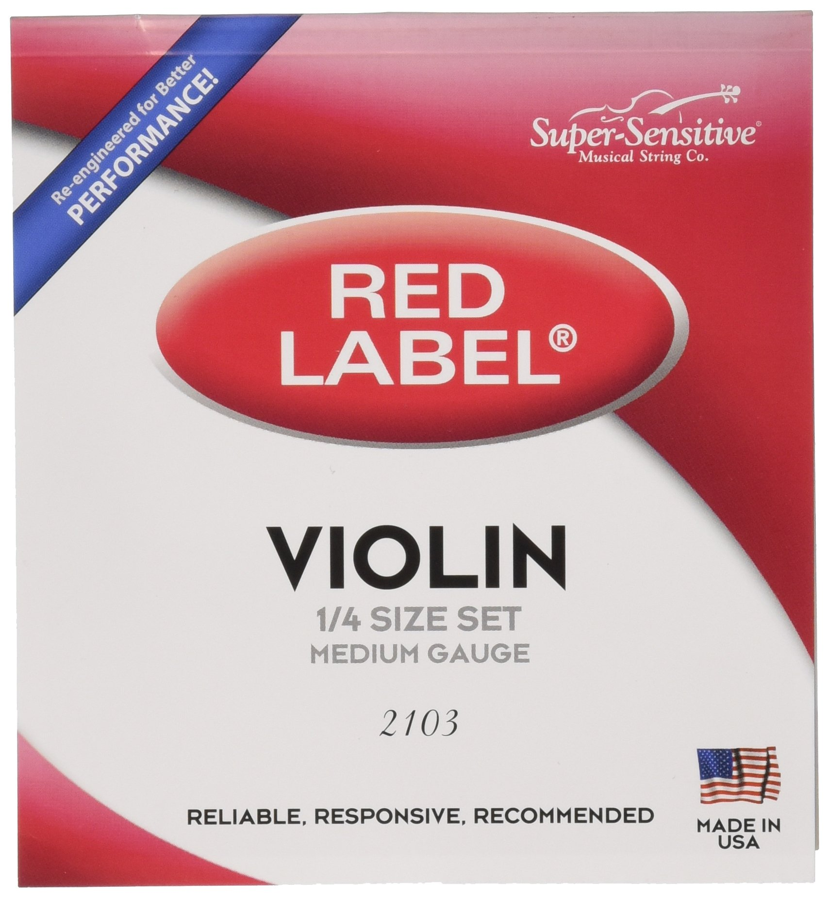 Super Sensitive Red Label 2103 Violin String Set, 1/4