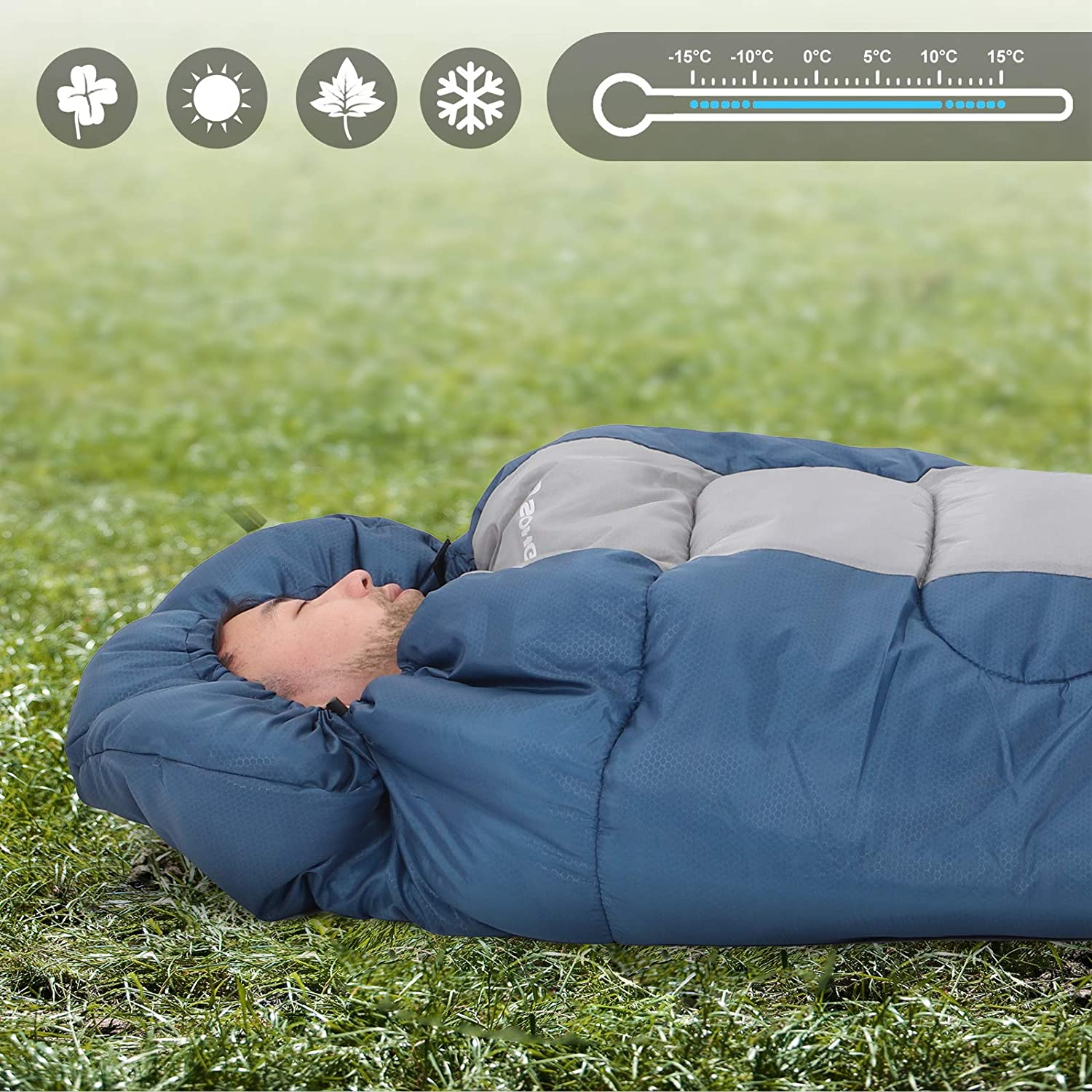 Ideal Temp 5-15/°C 220 x 84 cm Easy to Carry 3-4 Seasons Compact Hiking for Camping Lightweight Travelling SONGMICS Wide Camping Sleeping Bag with Compression Sack