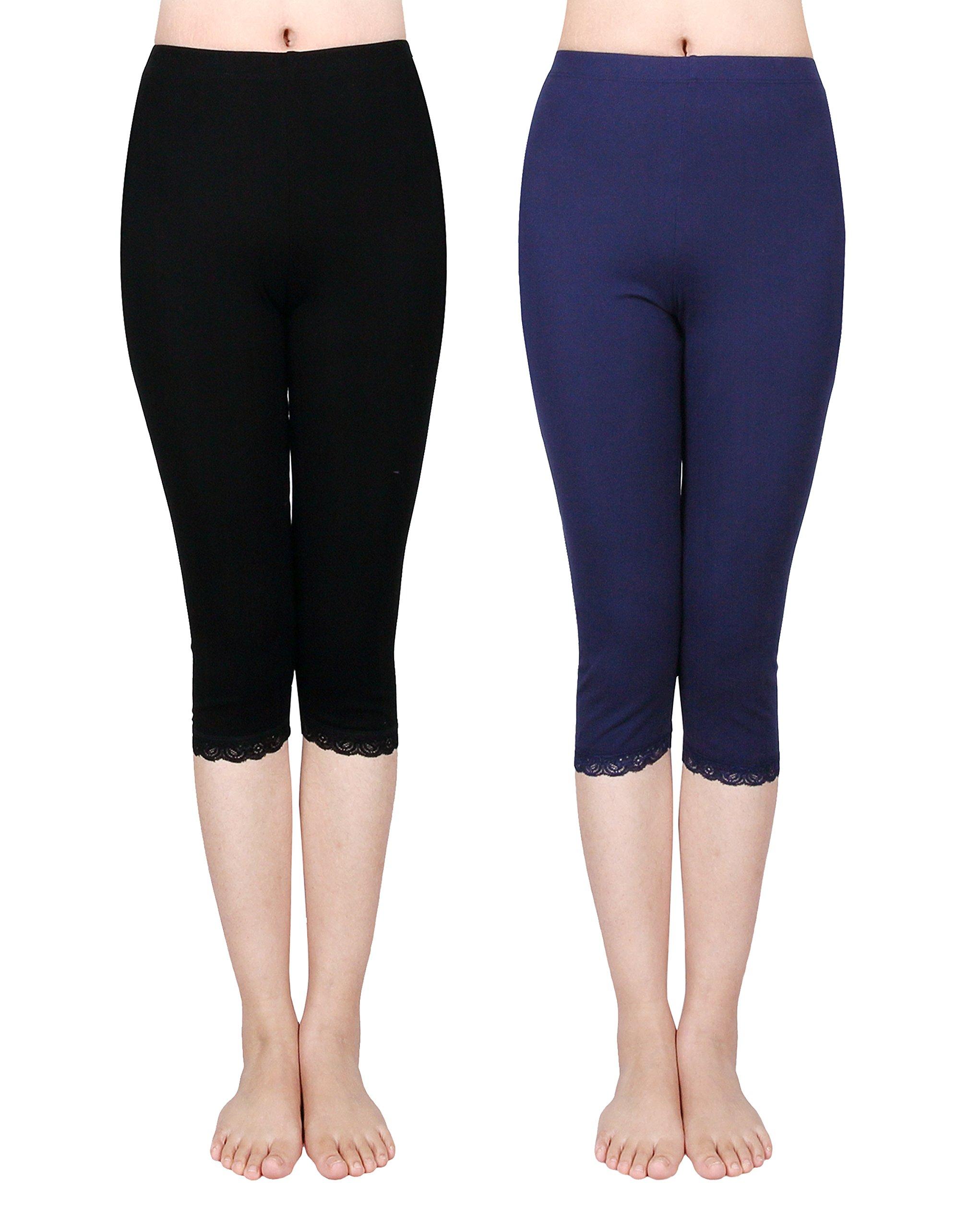 IRELIA 2 Pack Cotton Girls Leggings Capri with Lace Trim Pant Size 6-16 03 M by IRELIA (Image #1)