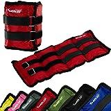 MOVIT Twin Set di pesi da polso o di caviglia, armatura, pesi da 2,0 kg, polsini in peso da rosso colori / pesi: 2x 2,0kg