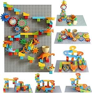 Marble Run Building Block Set Gear Building Set Classic Big Building Blocks Dinosaur Garden Blocks Educational STEM Toy Bricks Set Kids Race Track Luxury Gift for Kids (Gear Marble Run Dinosaur Sets)