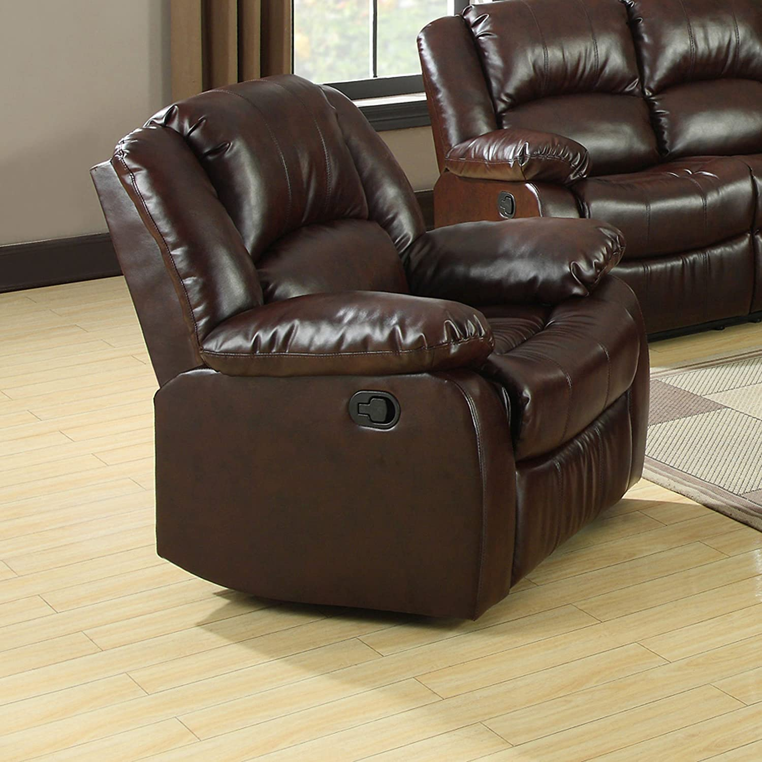 Furniture of America Poulanc 3-Piece Bonded Leather Match Recliners Set, Brown