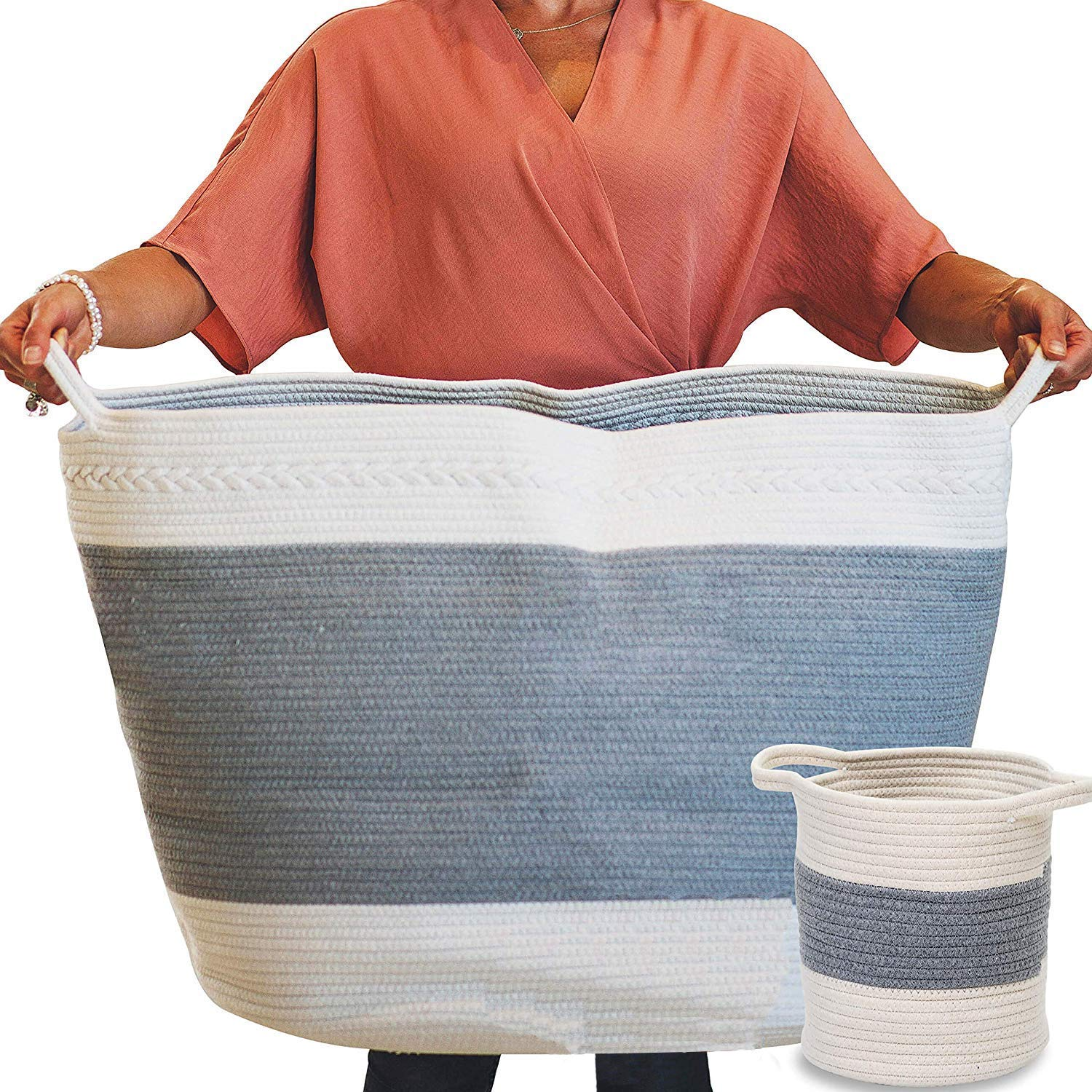"XXL Large Woven Storage Basket Set - The Largest Organic Cotton Rope Basket Available 22""x19"", Durable Materials with Soft Rope Handles, and Bonus Basket. Great for Laundry, Toys Towels, Bedding"