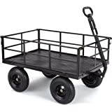 "Gorilla Carts Heavy-Duty Steel Utility Cart with Removable Sides and 13"" Tires with 1200 lb Capacity, Black"