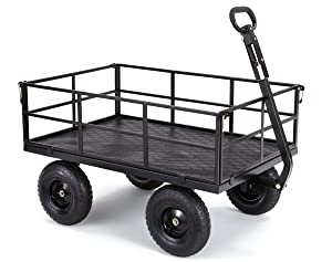 """Gorilla Carts GOR1200-COM Heavy-Duty Steel Utility Cart with Removable Sides and 13"""" Tires, 1200-lbs. Capacity, Black"""