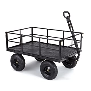 "Gorilla Carts GOR1200-COM Heavy-Duty Steel Utility Cart with Removable Sides and 13"" Tires, 1200-lbs. Capacity, Black"