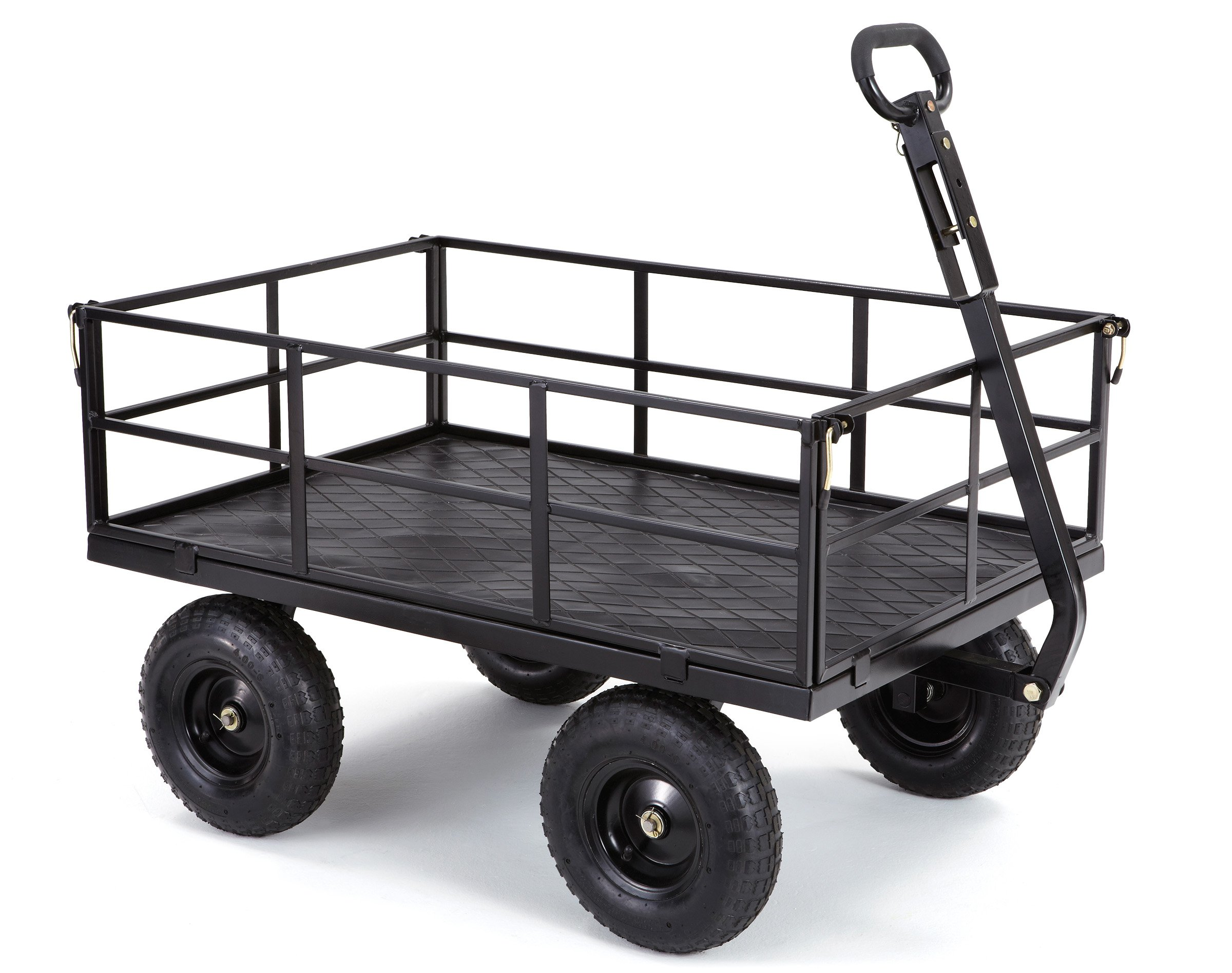 Gorilla Carts GOR1200-COM Heavy-Duty Steel Utility Cart with Removable Sides and 13'' Tires, 1200-lbs. Capacity, Black