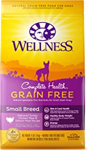 Wellness Natural Pet Food Complete Health Natural Grain Free Dry Small Breed Dog Food, Turkey, Chicken & Salmon, 4-Pound Bag