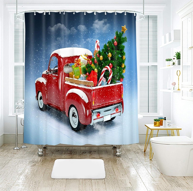Beydodo Cortinas de Baño de Navidad,Coche con Árbol de Navidad y Regalos Azul Rojo Verde Grueso Cortina Ducha Impermeable 180x180CM