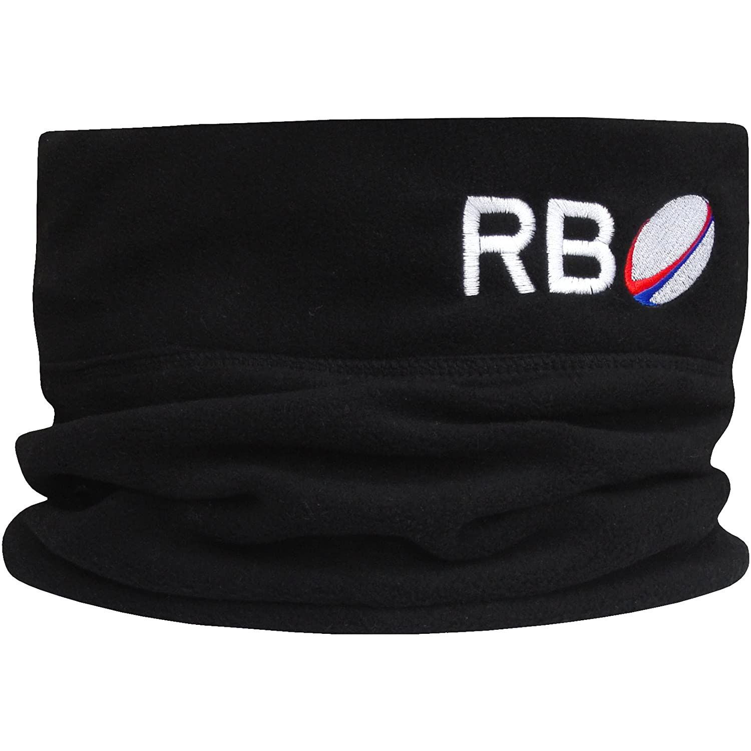 Boy's Personalised Rugby Initials Black Fleece Sports Snood with Adjustable Toggle