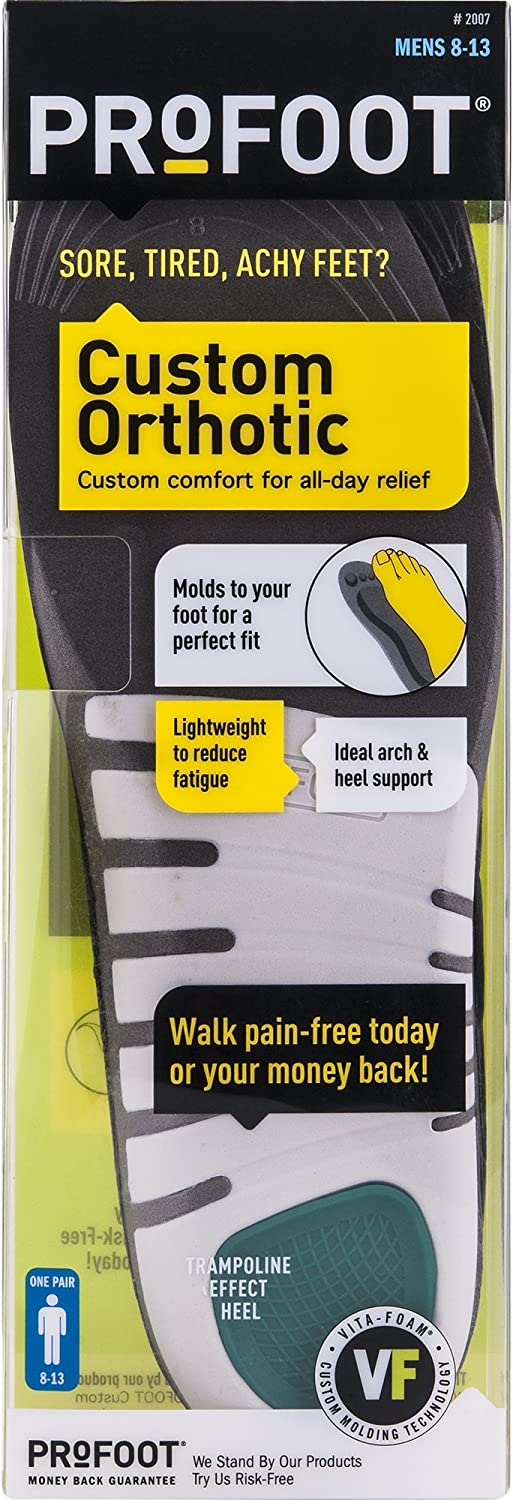 Profoot Custom Orthotic Insole, Men's 8-13, 1 Pair