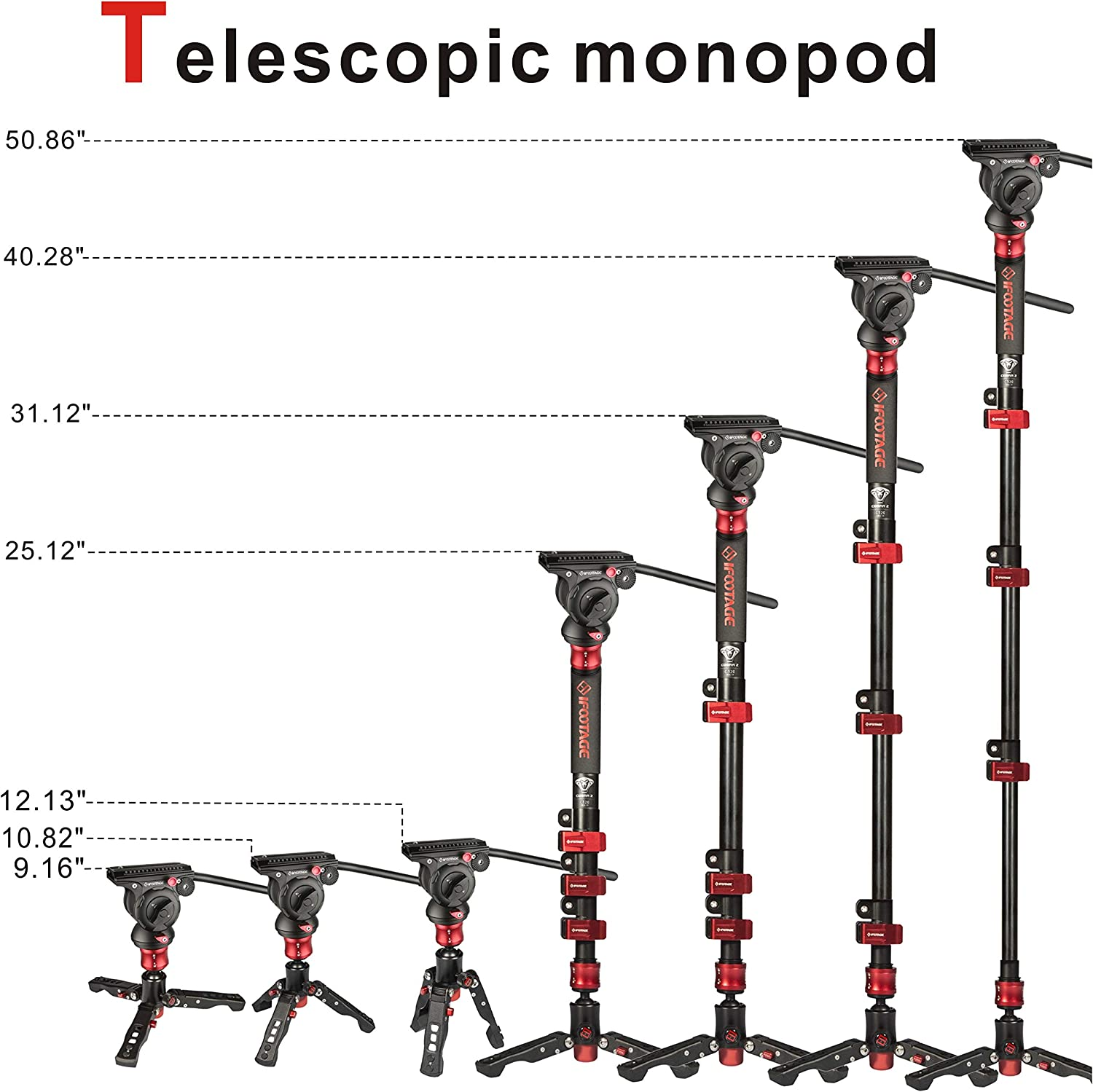 Professional 47 Carbon Fiber Monopod Leg with Feet for DSLR Camera Camcorders IFOOTAGE Camera Monopod with Video Head