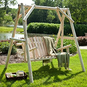 Coral Coast Rustic Natural Log Curved Back Porch Swing And A Frame Set