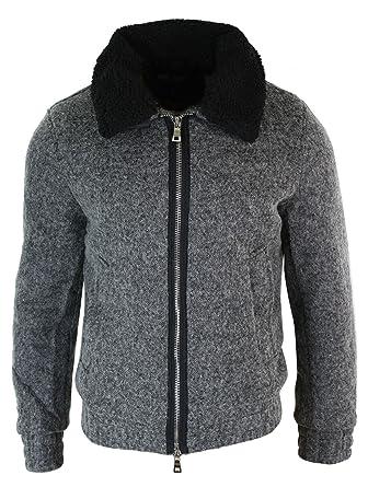 Amazon.com: Gov Denim - Chaqueta de lana con cremallera para ...