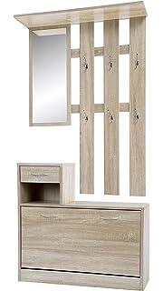 ts ideen ensemble porte manteau murale miroir meuble chaussures tiroir bois clair