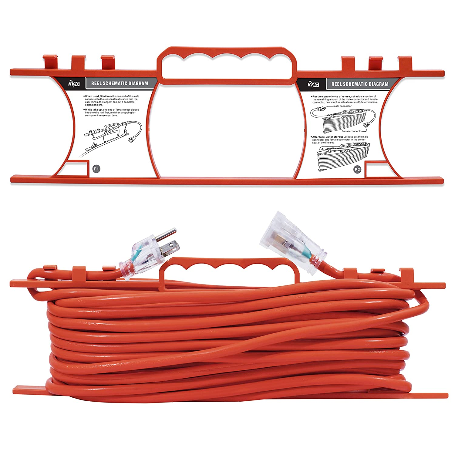 amazon com kmc 16 awg power outdoor extension cord with windingamazon com kmc 16 awg power outdoor extension cord with winding cord shelf 16 3,100 feet heavy duty 3 prong bright orange extension cord home