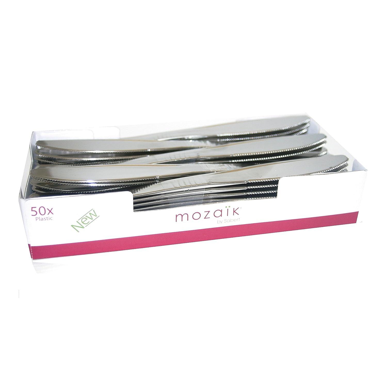 Thali Outlet® - 300 piezas Mozaik Set de vajilla infantil (platos de 9 pulgadas + cuchillos tenedores) - negro 9