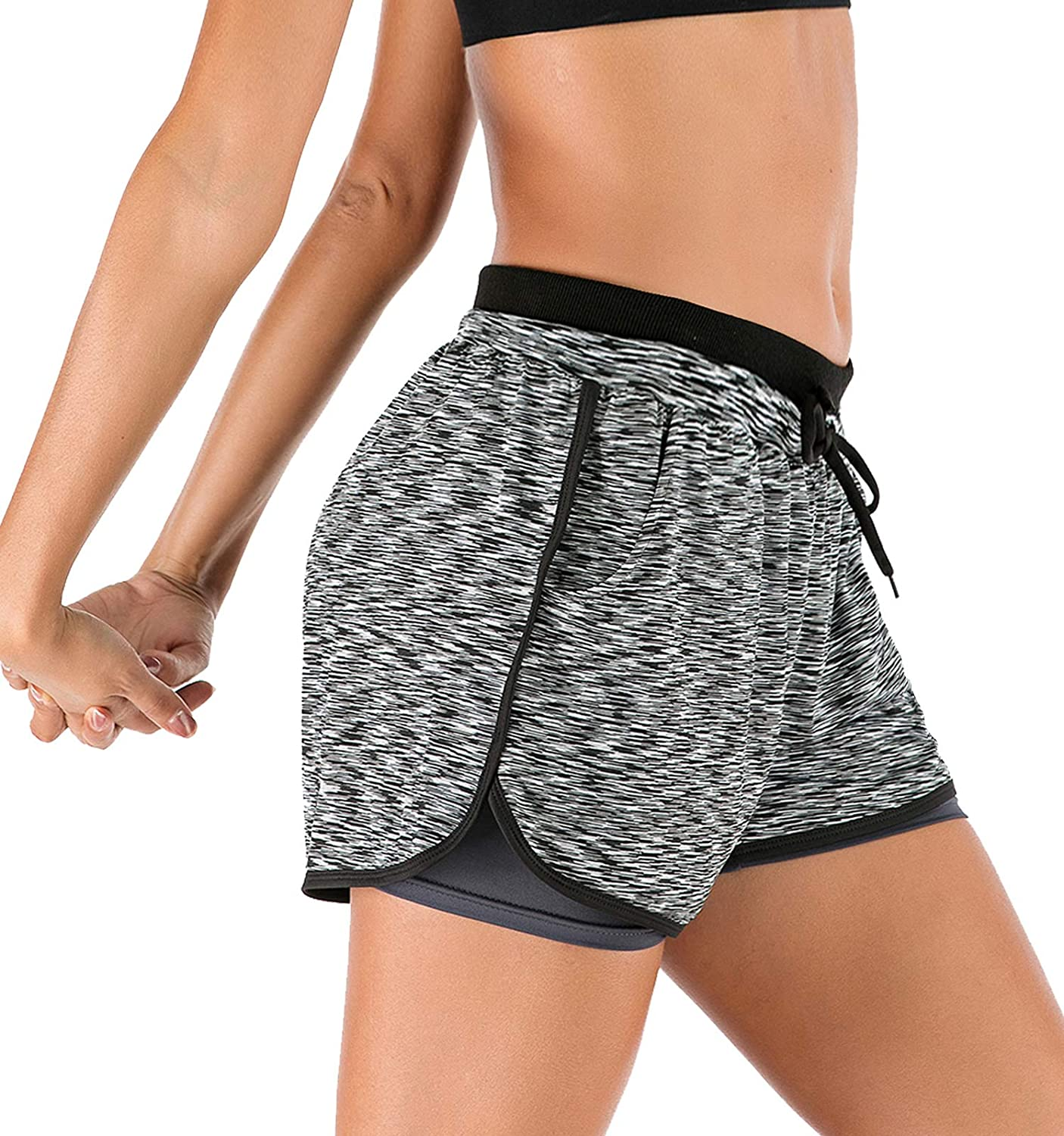 Youloveit Womens Double Layer Workout Running Shorts 2 in 1 Athletic Yoga Shorts with Pockets