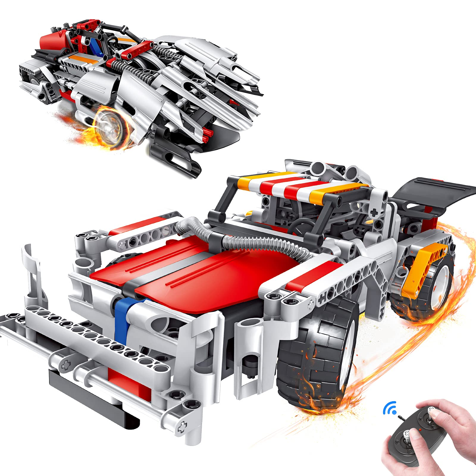 morwant STEM Remote Control Building Ages 6-12, 2-in-1 Racing Car Models (326pcs)