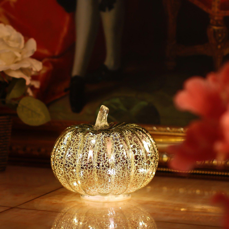 "HC Artcraft Mercury Glass Home Decor Pumpkin Light, 5.5"" LED Pumpkin with Timer for Thanksgiving and Christmas Decorations - Silver"