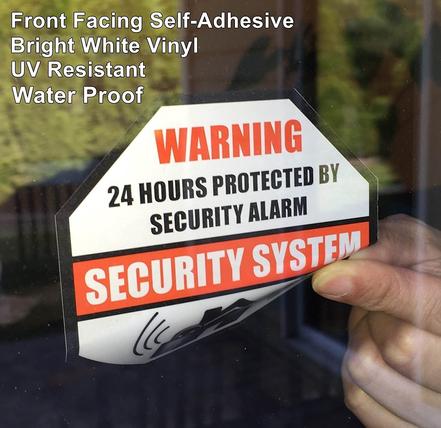 **Front Self Adhesive Vinyl** Outdoor/Indoor (4 Pack) 89mm X 89mm Home Business Security Burglar Alarm System Window Door Warning Alert Sticker Decals Rockmount Electronics