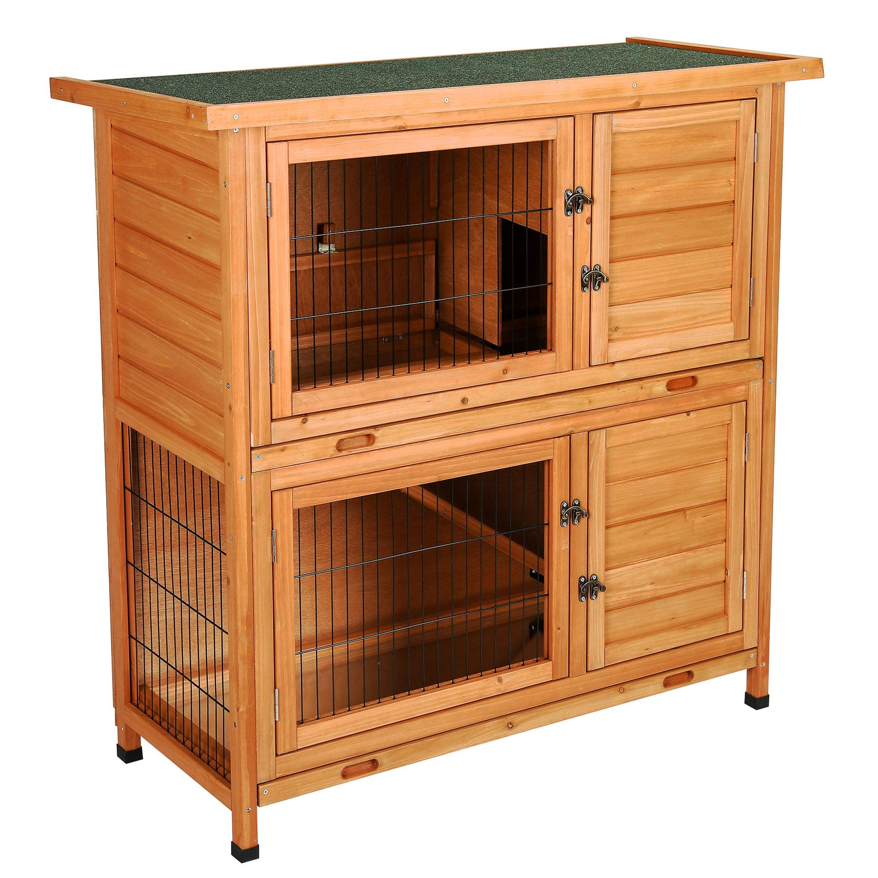 CO-Z 2 Story Outdoor Wooden Bunny Cage Rabbit Hutch Guinea Pig House in Nature Color with Ladder for Small Animals by CO-Z (Image #2)