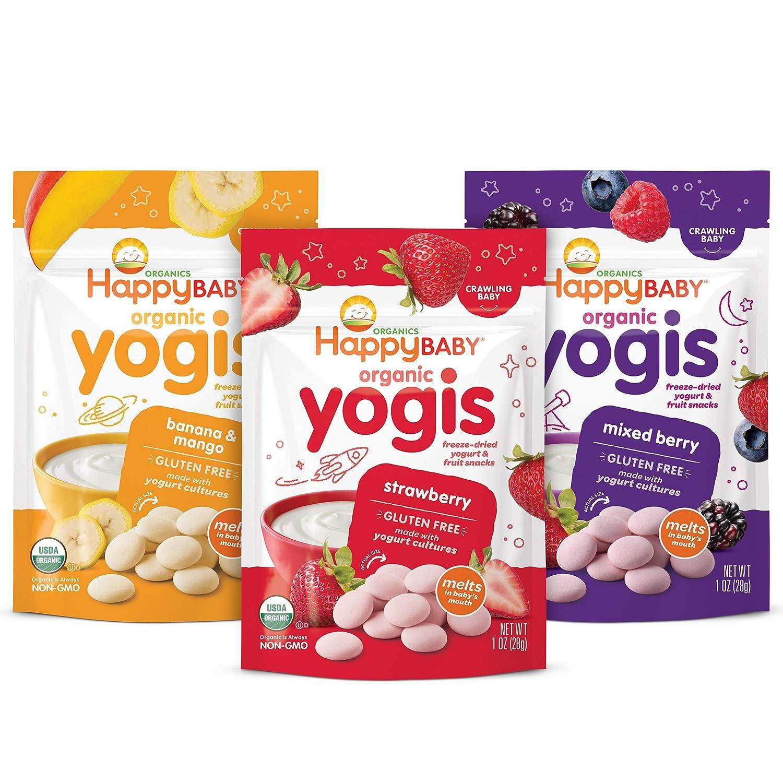 Happy Baby Organics Yogis Freeze-Dried Yogurt & Fruit Snacks, Variety Pack, 1 Ounce (Pack of 6)