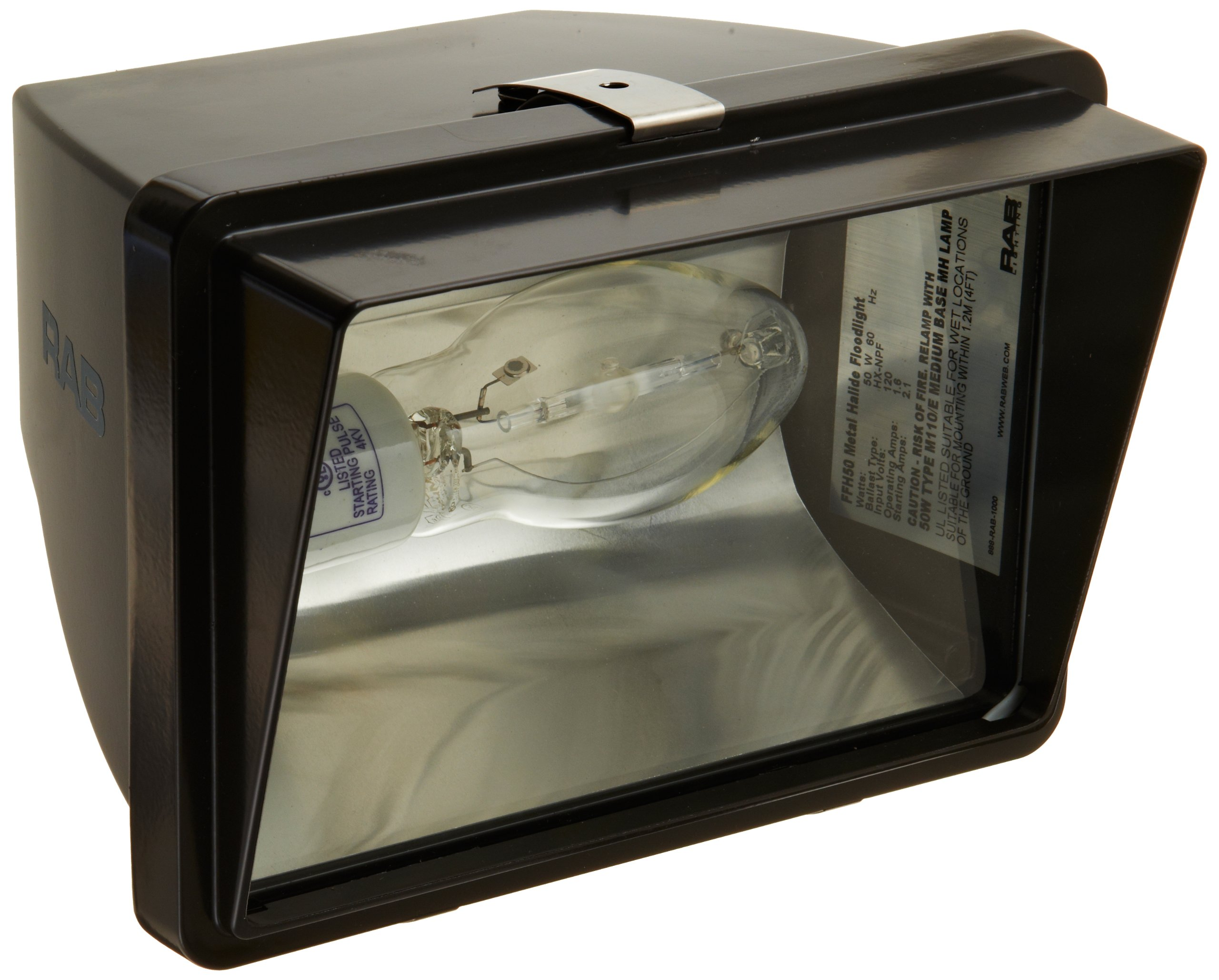 RAB Lighting FFH50 Metal Halide HID Future Floodlight, ED17 Type, Aluminum, 50W Power, 3400 Lumens, 120V, Bronze Color