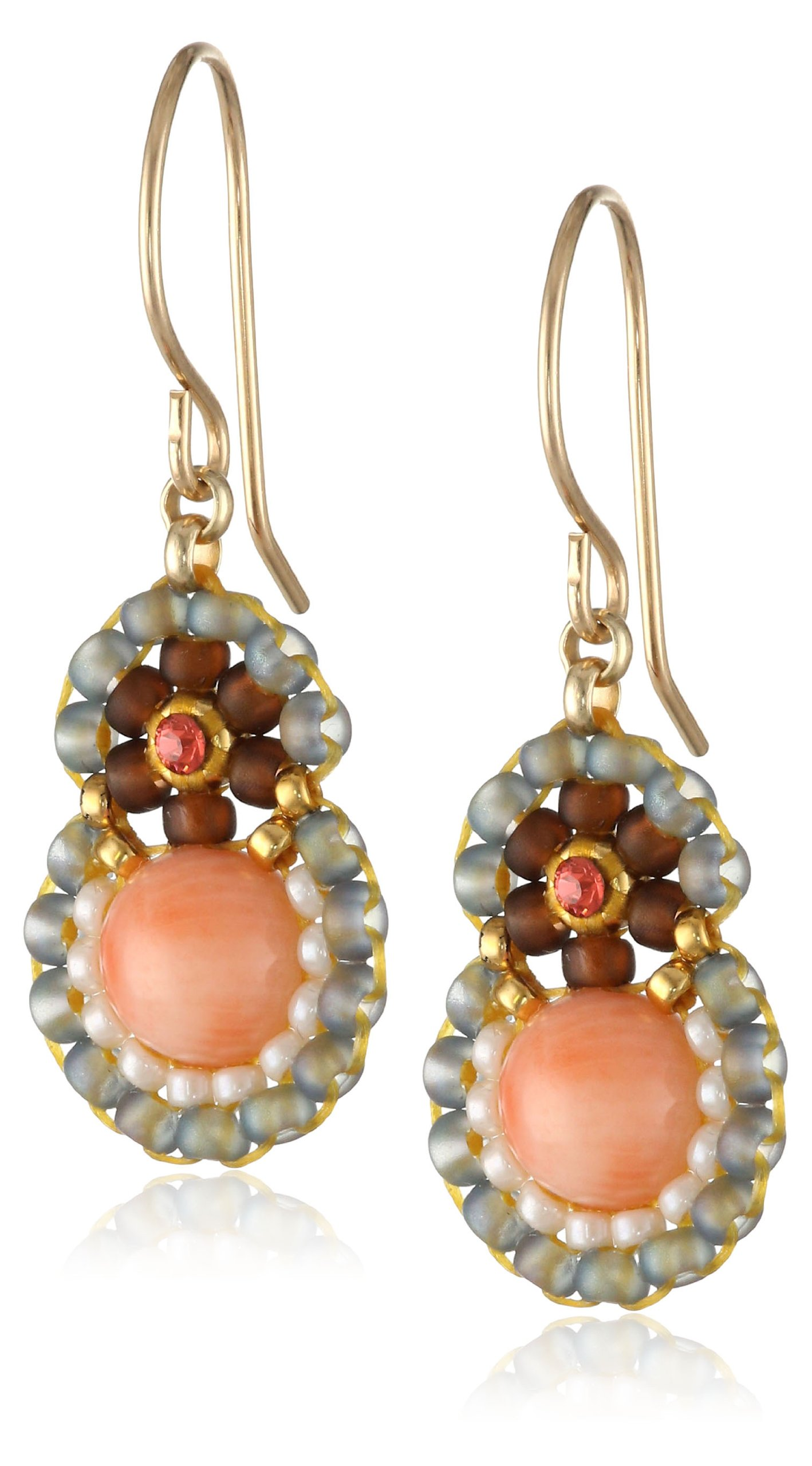 Miguel Ases Pink Coral and Swarovski Drop Earrings