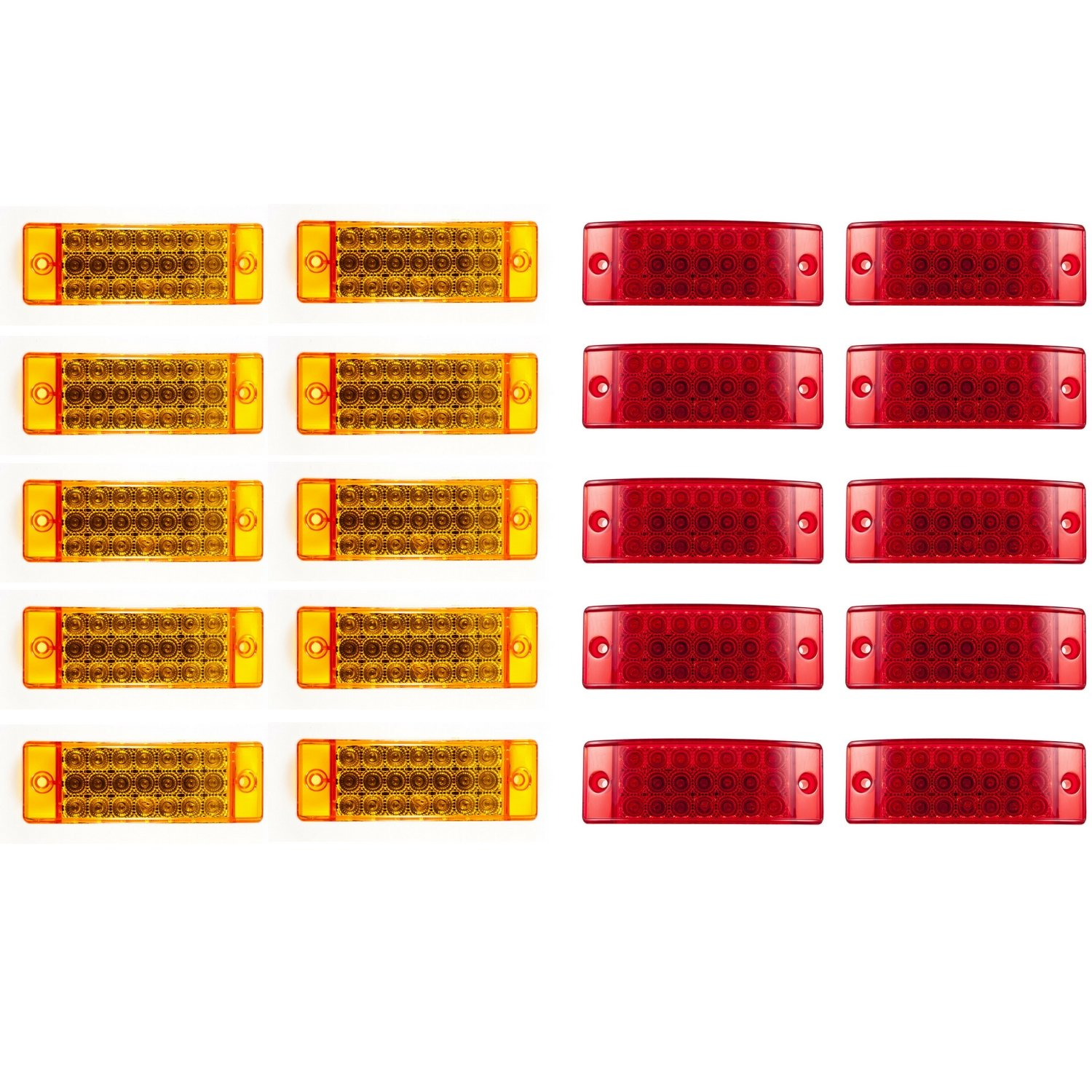 [ALL STAR TRUCK PARTS] Qty 10 Red + Qty 10 Amber 6'' 21 LED Side Marker Clearance Light Rectangle 12V Truck Trailer Camper Boat Marine [Sealed and Waterproof]
