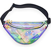 Miracu Neon Holographic Fanny Pack, 80s Cute Fashion Fanny Packs for Women Girls, Shiny Waist Pack Bum Bag for Rave, Festival, Party, Travel