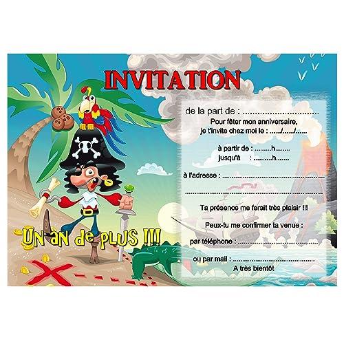 Cartes Invitation Anniversaire Pirate Par 12 Avec Enveloppes Ref 399 Amazon Fr Handmade