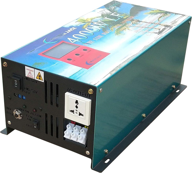 16000W Peak 4000W LF Pure Sine Wave Power Inverter DC 12V to AC 110V 60Hz with LCD Display