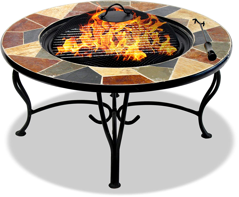 Brazier Centurion apoya la Fireology Santiago Prestigious Garden /& Patio Fire Pit Barbacoa y cubeta de Hielo con baldosas de Pizarra Mesa de caf/é