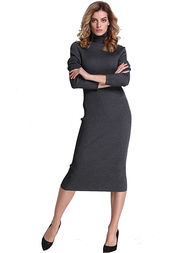 2a4fa8ce PrettyGuide Women Slim Fit Ribbed Turtleneck Long Sleeve Maxi Knit Sweater  Dress at Amazon Women's Clothing store: