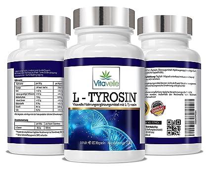 -L tirosina Ultra fórmula I + L tirosina 120 cápsulas de celulosa VEGANO I dosis por cápsula de 500 mg de I paquete de suministro 4-mes: Amazon.es: Salud y ...