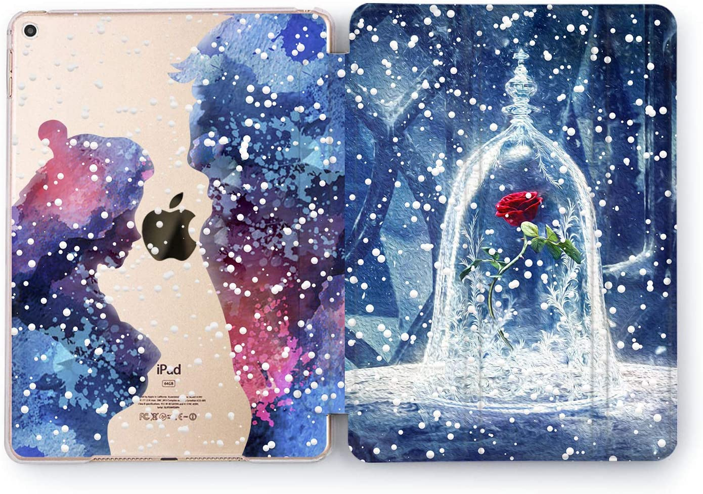 Wonder Wild Case Compatible with Apple iPad Beauty and The Beast Cute Hard 5th 6th Generation Mini 1 2 3 4 Air 2 Tablet Pro 10.5 12.9 11 10.2 9.7 inch Cartoon Cover Princess Print Girly Rose in Glass