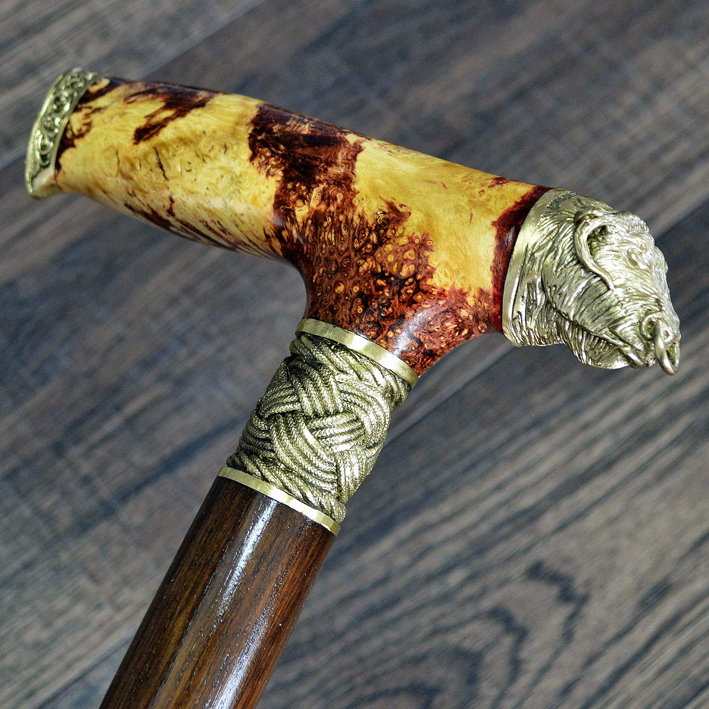 oleksandr.victory Canes Walking Sticks Wood Reeds Bronze Wooden stabilized BURL Handmade Cane Stick Men's Accessories Bull