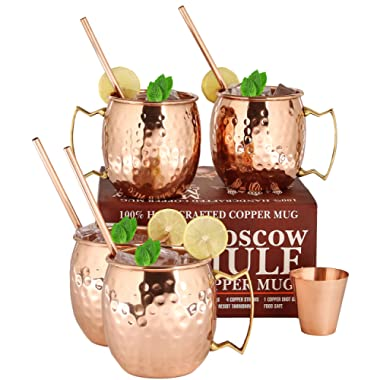 Moscow Mule Copper Mugs - Set of 4-100% HANDCRAFTED Food Safe Pure Solid Copper Mugs - 16oz Gift Set with BONUS: 4 Cocktail Copper Straws, 1 Shot Glass and Recipe Booklet! Hammered Copper Mug