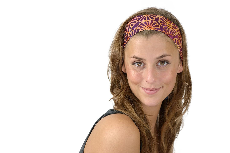 Soft Fabric Headband Tropical Paradise Rose Toasted Orange Yellow Over Purple