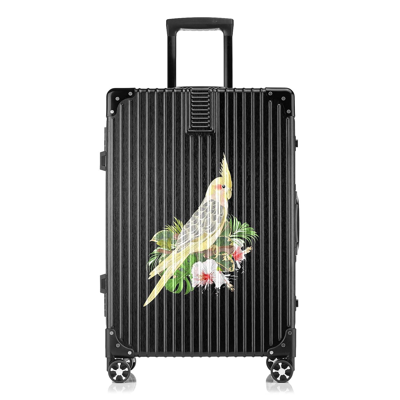 GSHCJ スーツケース 美しい動物 オウム キャリーケース 20インチ おしゃれ ブラック Tsaロック搭載 プリント ハード 超軽量 軽い 機内持込 ロックファスナー 旅行 ビジネス 出張 海外 修学旅行 丈夫 便利 レディース メンズ 学生 B07RY9BJ32