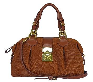 a22a8a3ade50f SILVIO TOSSI Damen Leder Handtasche Schultertasche Whisky Modell 10935-07